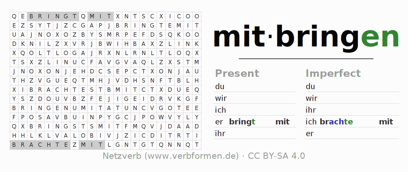 Word search puzzle for the conjugation of the verb mitbringen