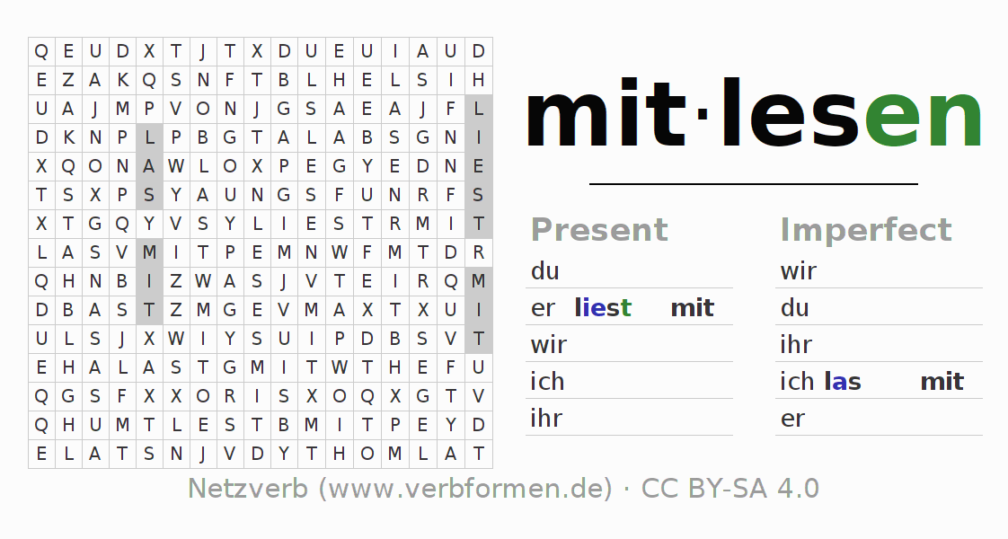 Word search puzzle for the conjugation of the verb mitlesen