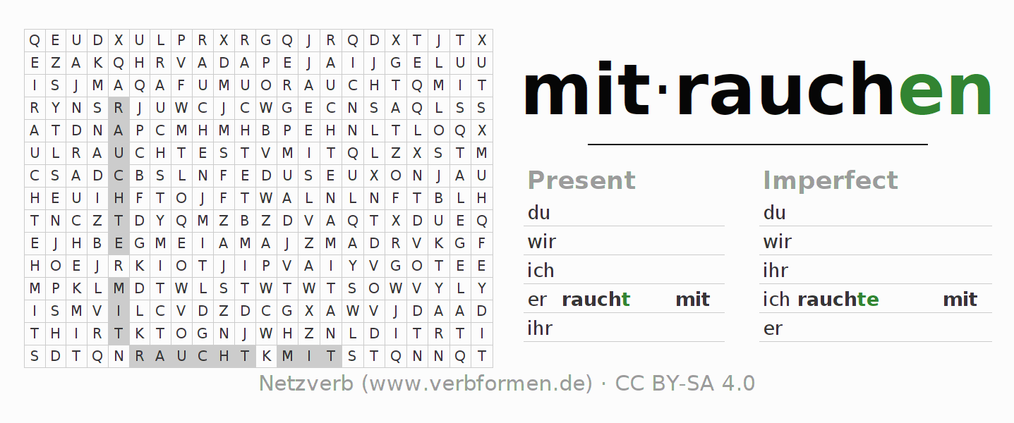 Word search puzzle for the conjugation of the verb mitrauchen
