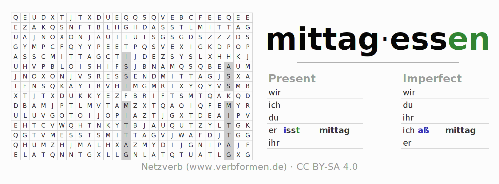 Word search puzzle for the conjugation of the verb mittagessen