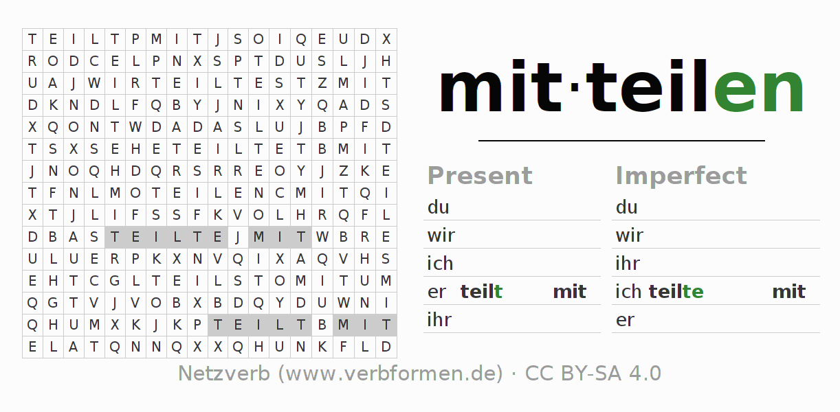 Word search puzzle for the conjugation of the verb mitteilen