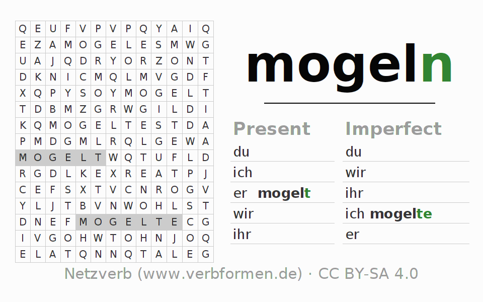 Word search puzzle for the conjugation of the verb mogeln