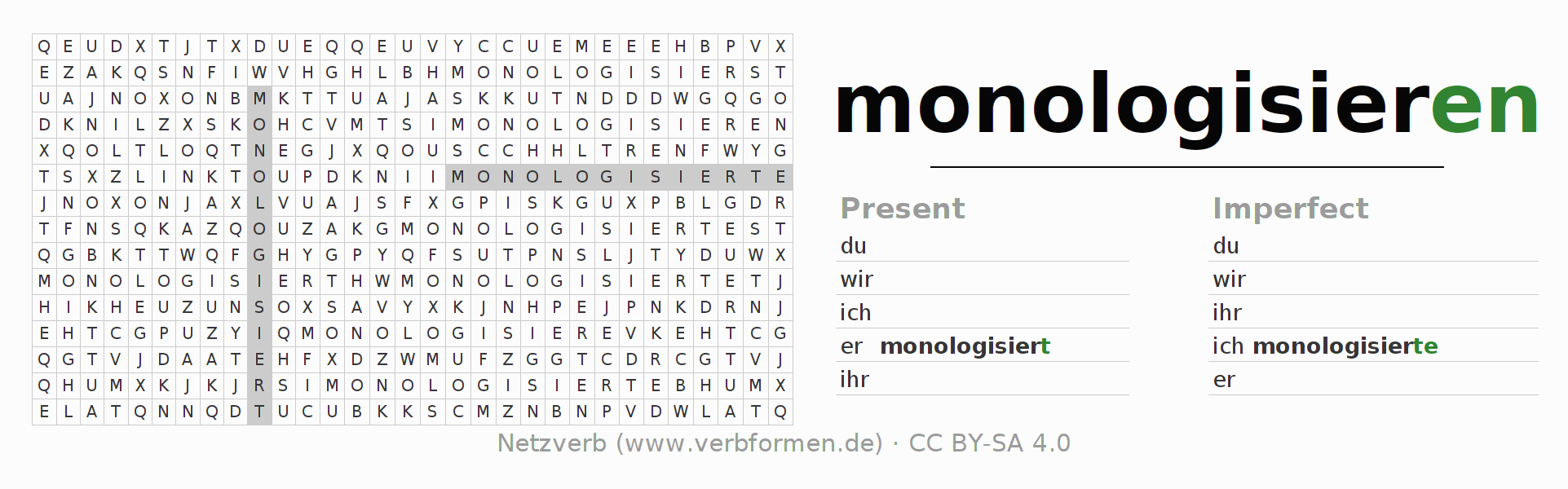 Word search puzzle for the conjugation of the verb monologisieren