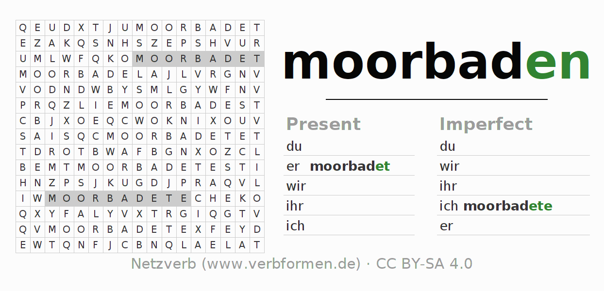 Word search puzzle for the conjugation of the verb moorbaden (hat)