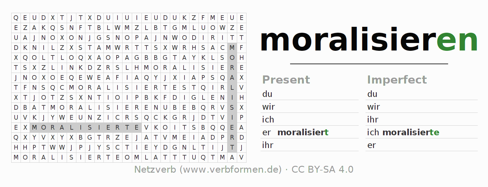 Word search puzzle for the conjugation of the verb moralisieren