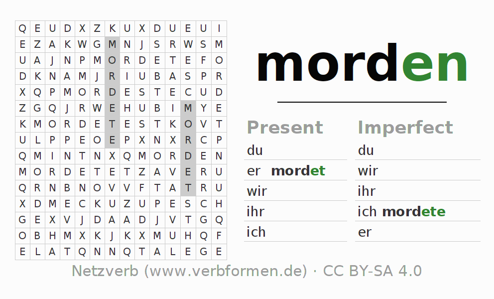 Word search puzzle for the conjugation of the verb morden
