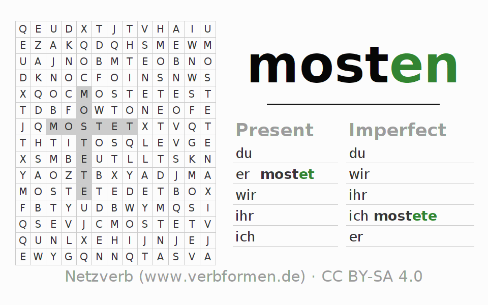Word search puzzle for the conjugation of the verb mosten