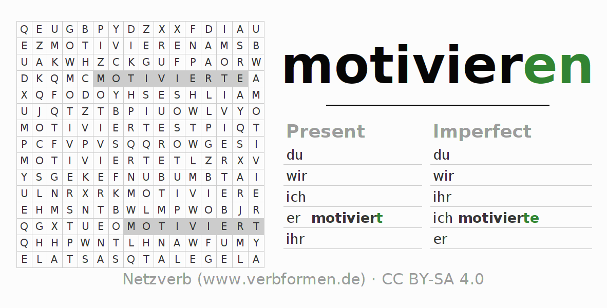 Word search puzzle for the conjugation of the verb motivieren