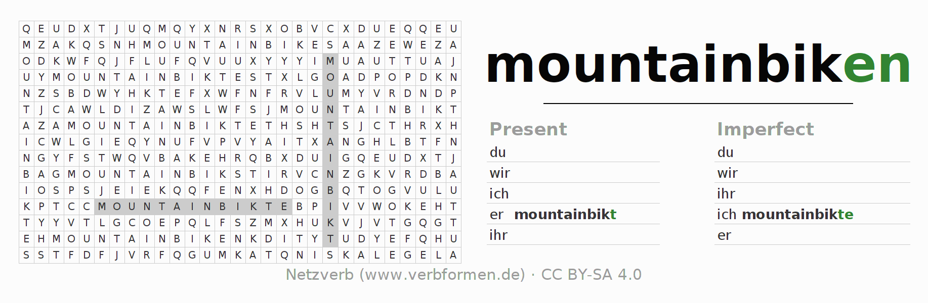 Word search puzzle for the conjugation of the verb mountainbiken