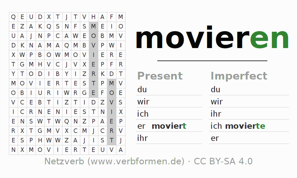 Word search puzzle for the conjugation of the verb movieren