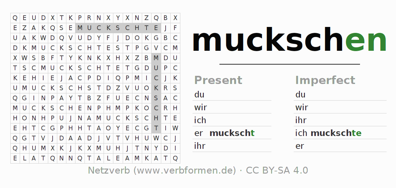 Word search puzzle for the conjugation of the verb muckschen
