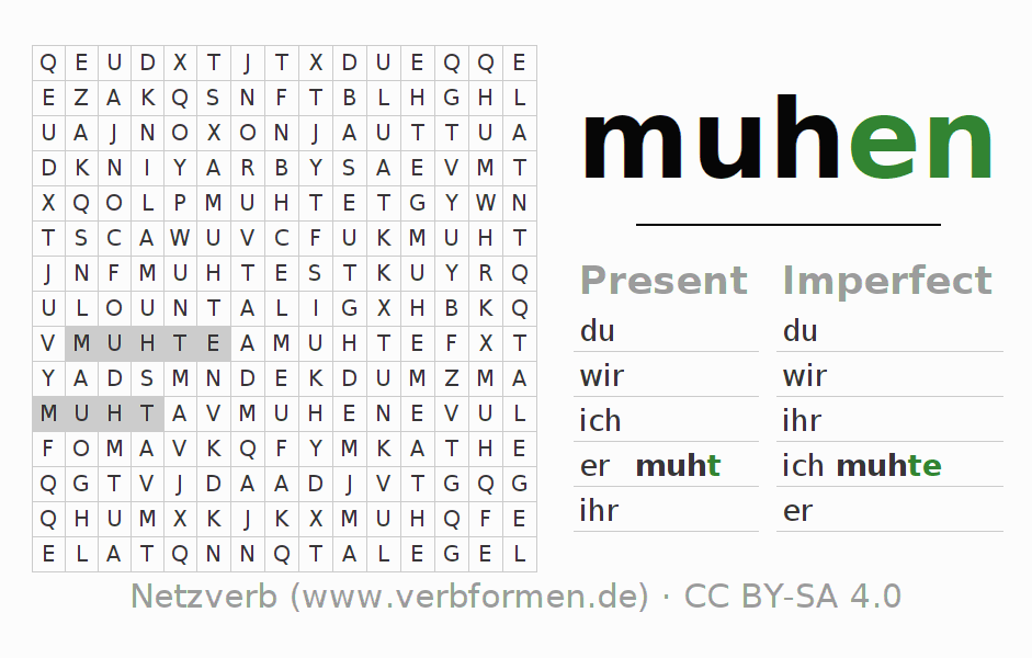 Word search puzzle for the conjugation of the verb muhen