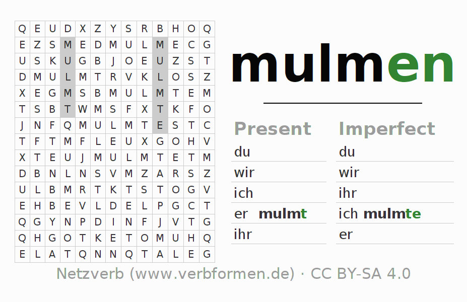 Word search puzzle for the conjugation of the verb mulmen (ist)