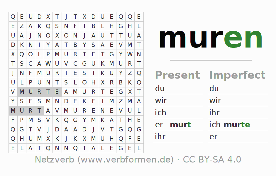 Word search puzzle for the conjugation of the verb muren