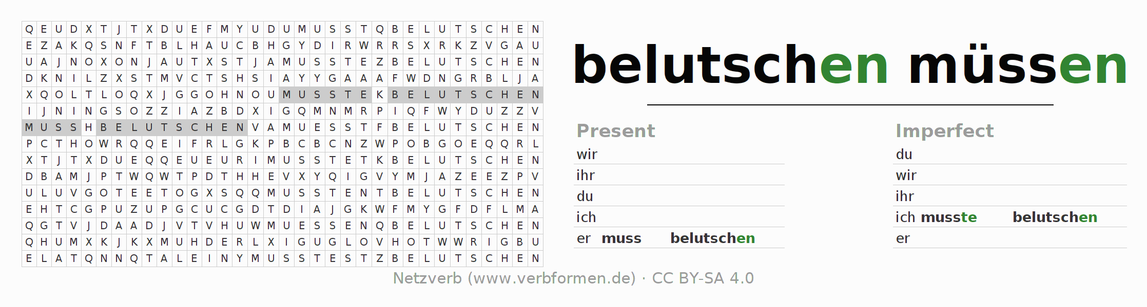 Word search puzzle for the conjugation of the verb muss belutschen