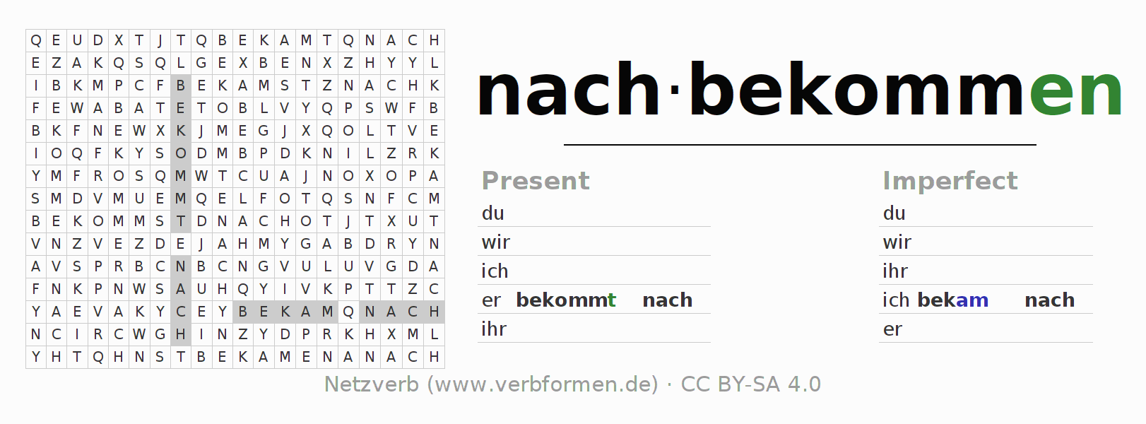 Word search puzzle for the conjugation of the verb nachbekommen