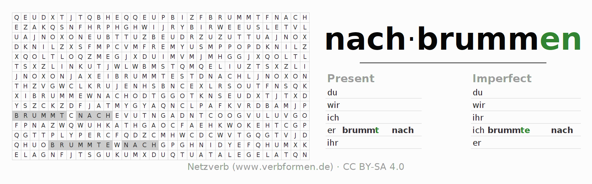 Word search puzzle for the conjugation of the verb nachbrummen
