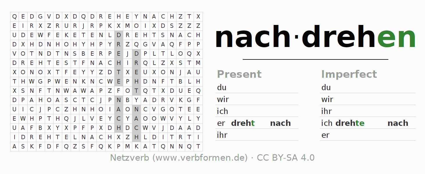Word search puzzle for the conjugation of the verb nachdrehen