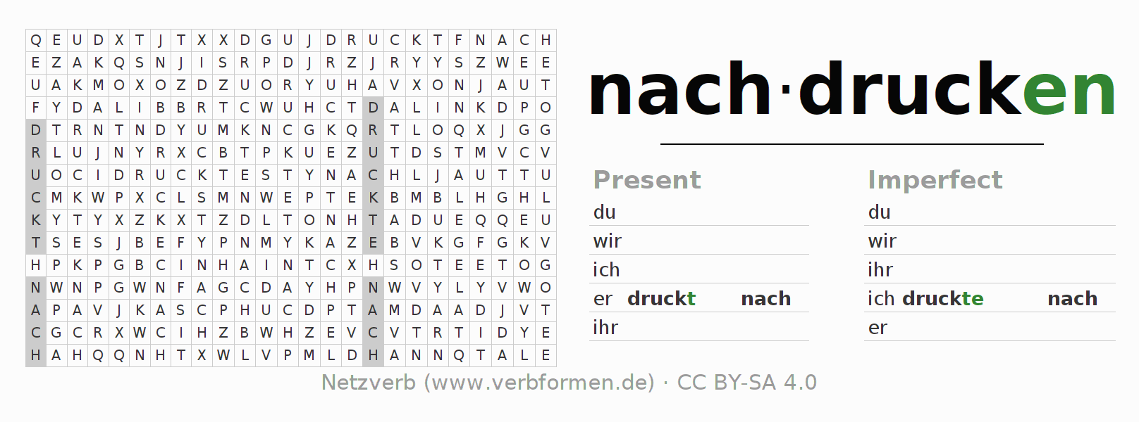 Word search puzzle for the conjugation of the verb nachdrucken