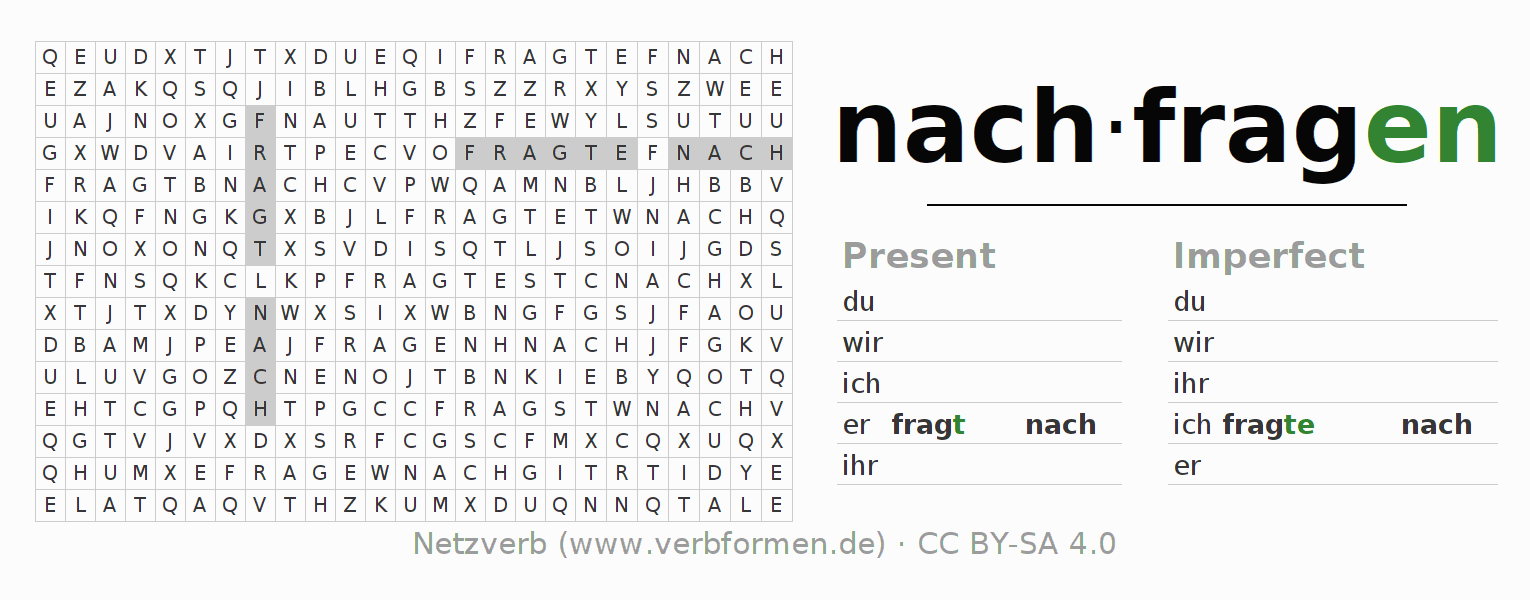 Word search puzzle for the conjugation of the verb nachfragen (regelm)