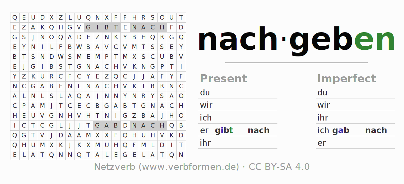 Word search puzzle for the conjugation of the verb nachgeben