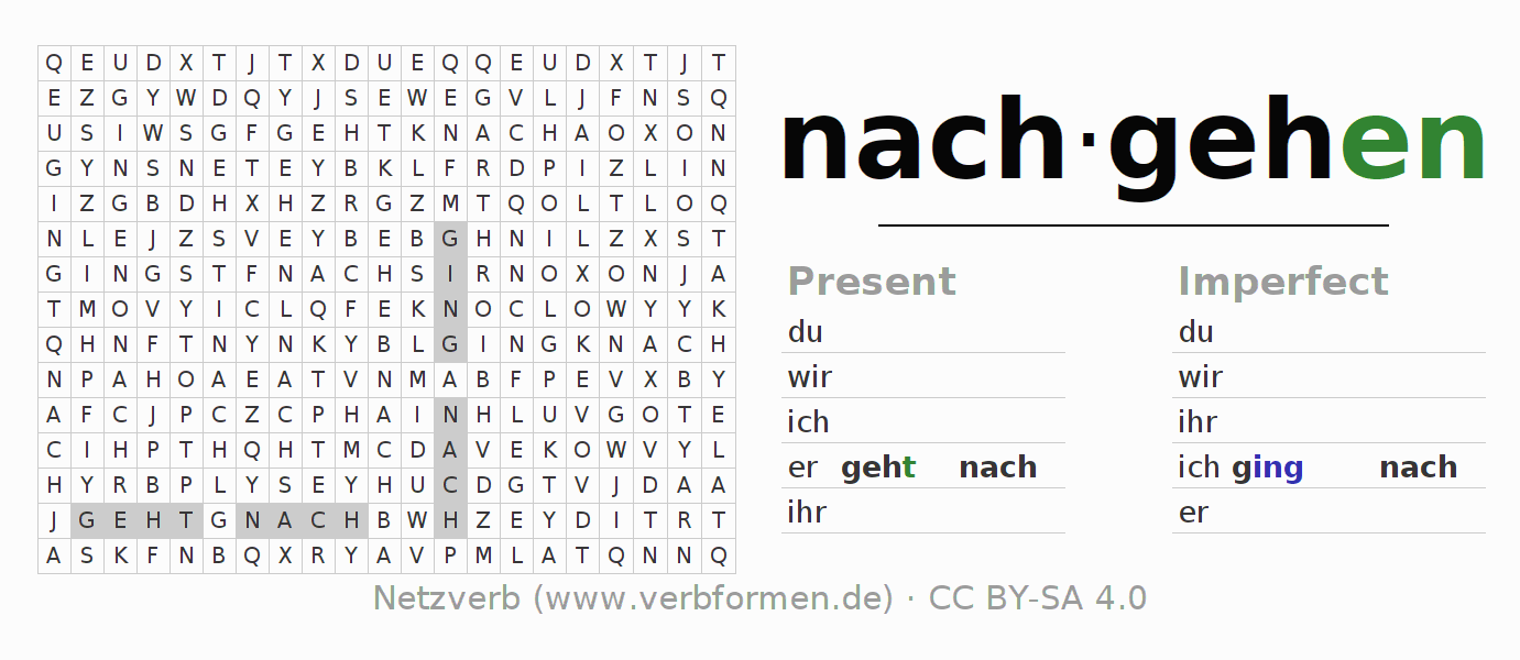 Word search puzzle for the conjugation of the verb nachgehen