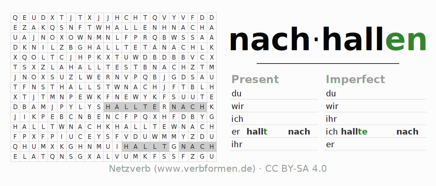 Word search puzzle for the conjugation of the verb nachhallen (hat)
