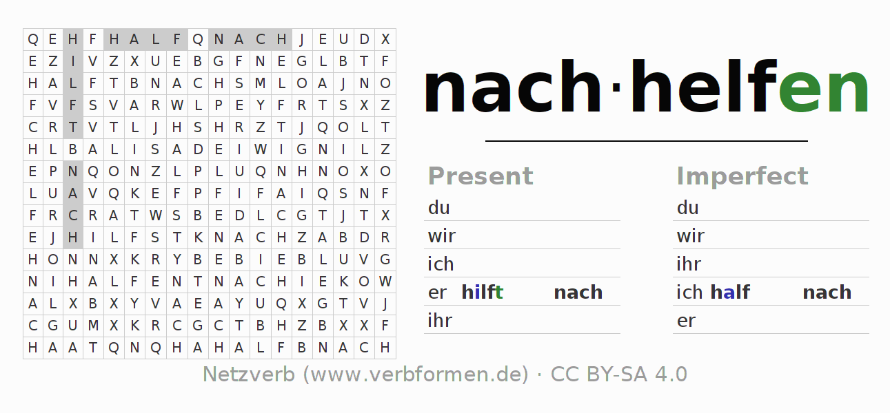 Word search puzzle for the conjugation of the verb nachhelfen