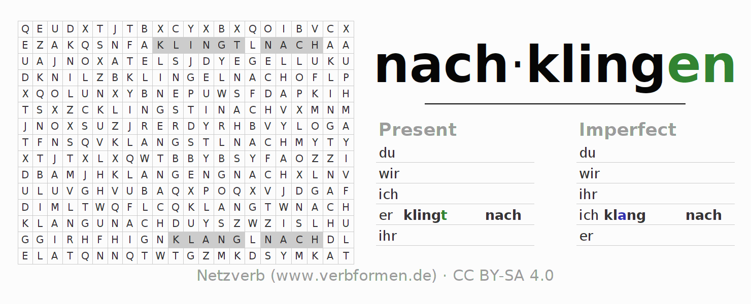 Word search puzzle for the conjugation of the verb nachklingen