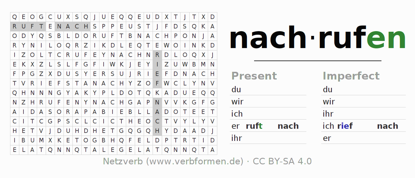 Word search puzzle for the conjugation of the verb nachrufen