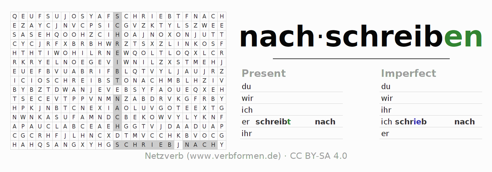 Word search puzzle for the conjugation of the verb nachschreiben