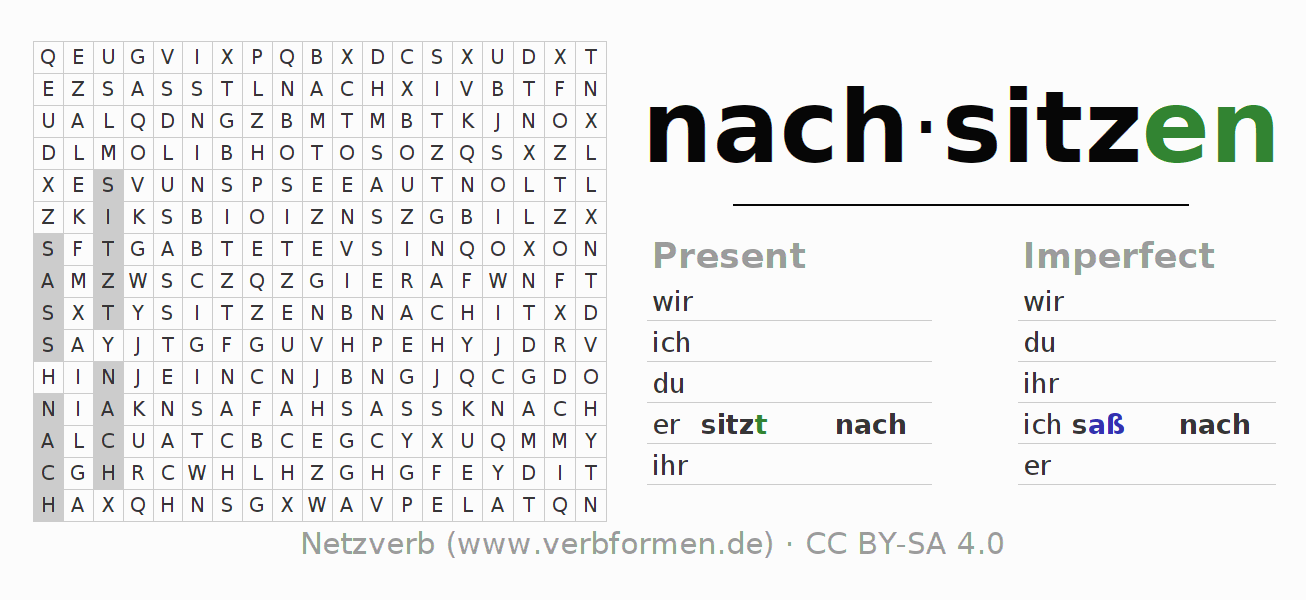 Word search puzzle for the conjugation of the verb nachsitzen (hat)