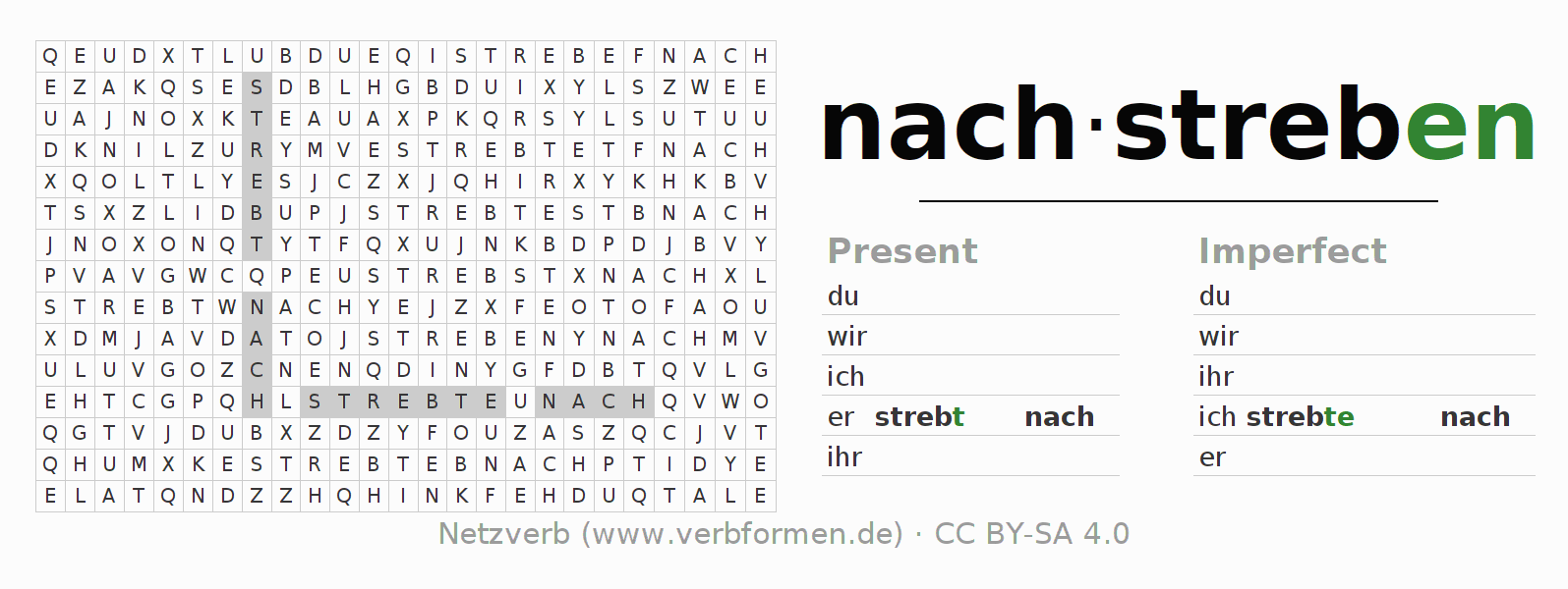 Word search puzzle for the conjugation of the verb nachstreben
