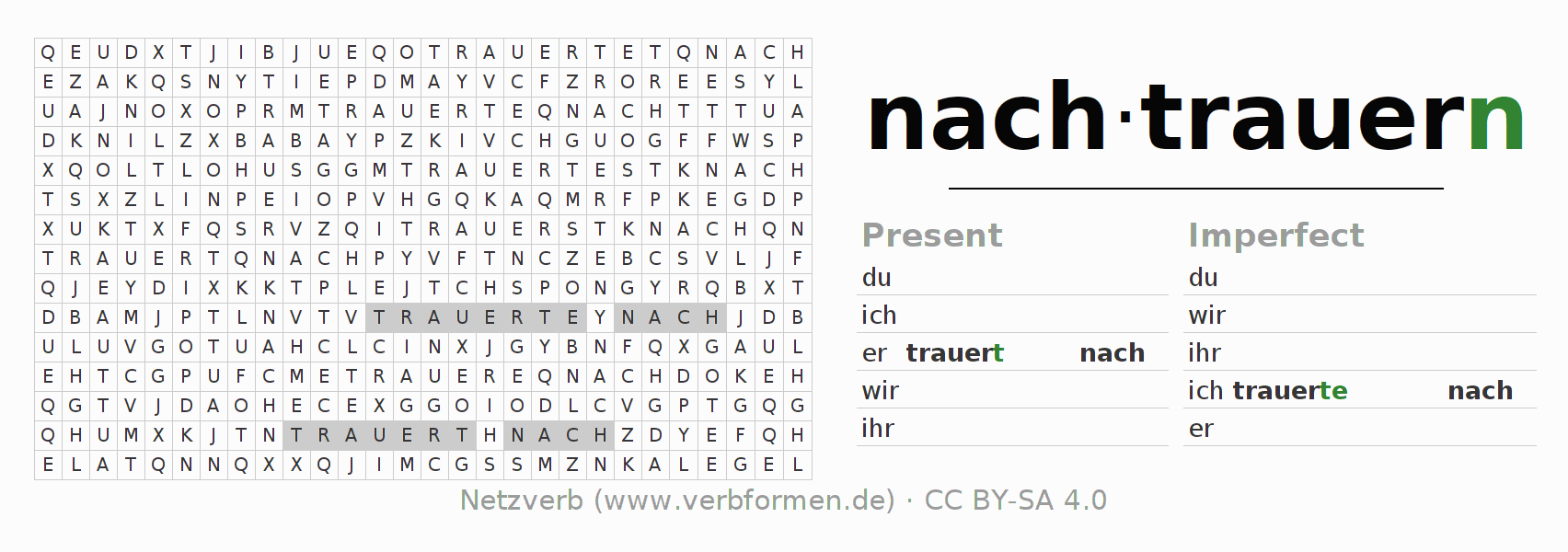 Word search puzzle for the conjugation of the verb nachtrauern