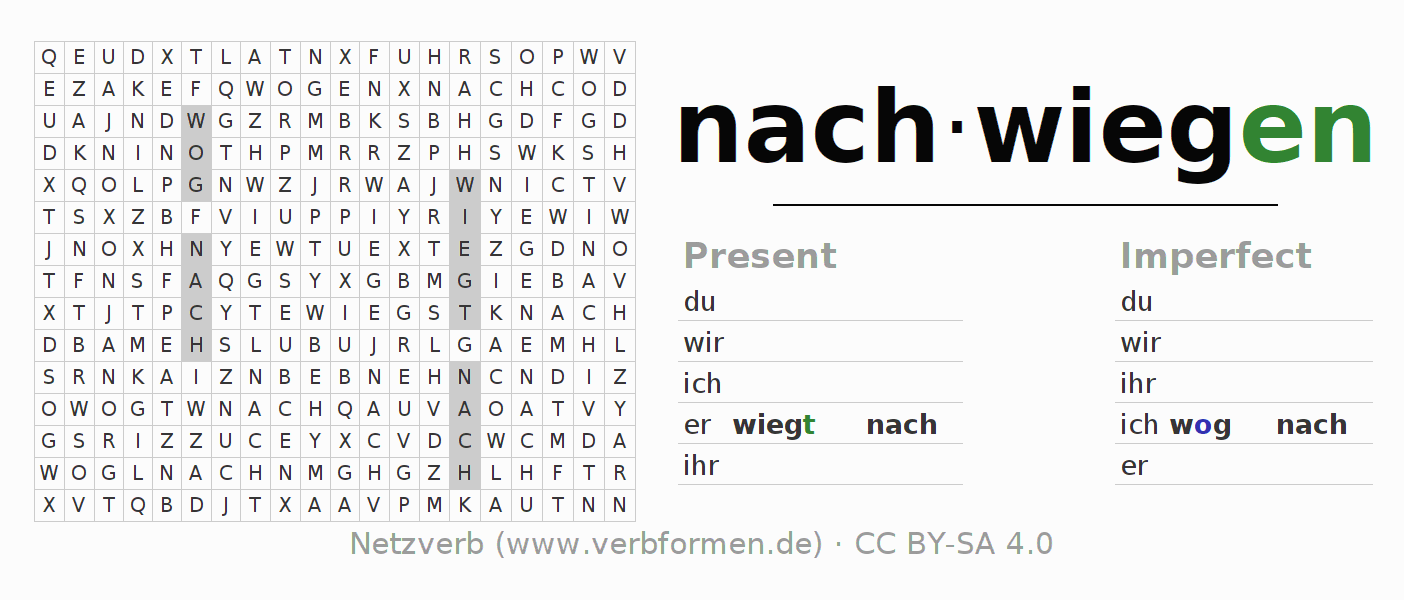 Word search puzzle for the conjugation of the verb nachwiegen