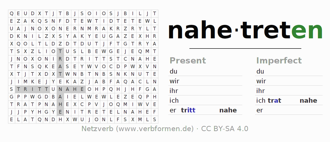 Word search puzzle for the conjugation of the verb nahetreten