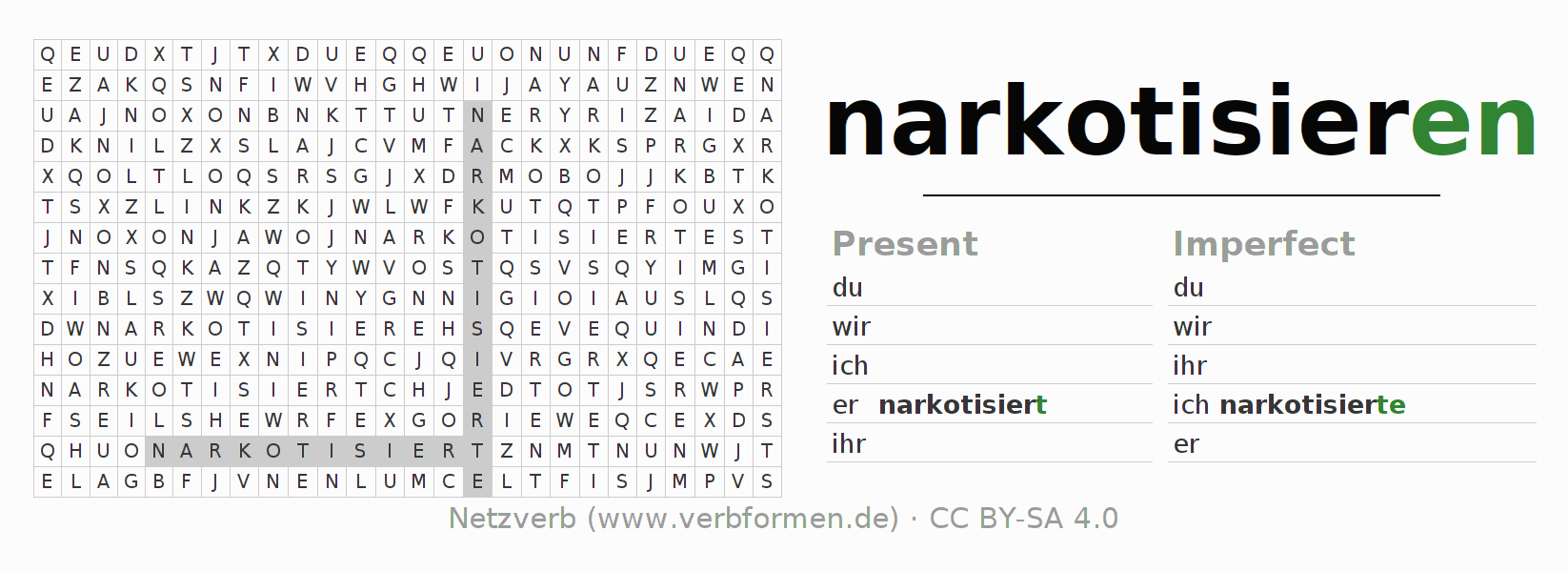 Word search puzzle for the conjugation of the verb narkotisieren