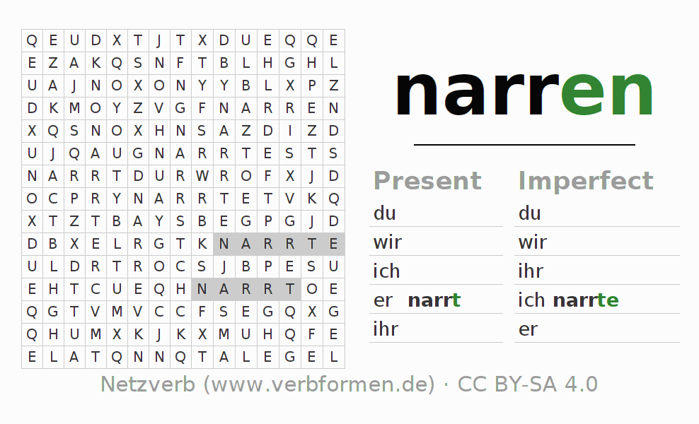 Word search puzzle for the conjugation of the verb narren