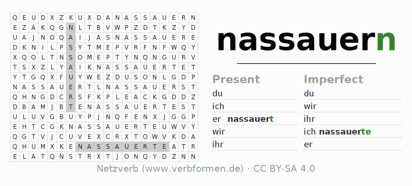 Word search puzzle for the conjugation of the verb nassauern