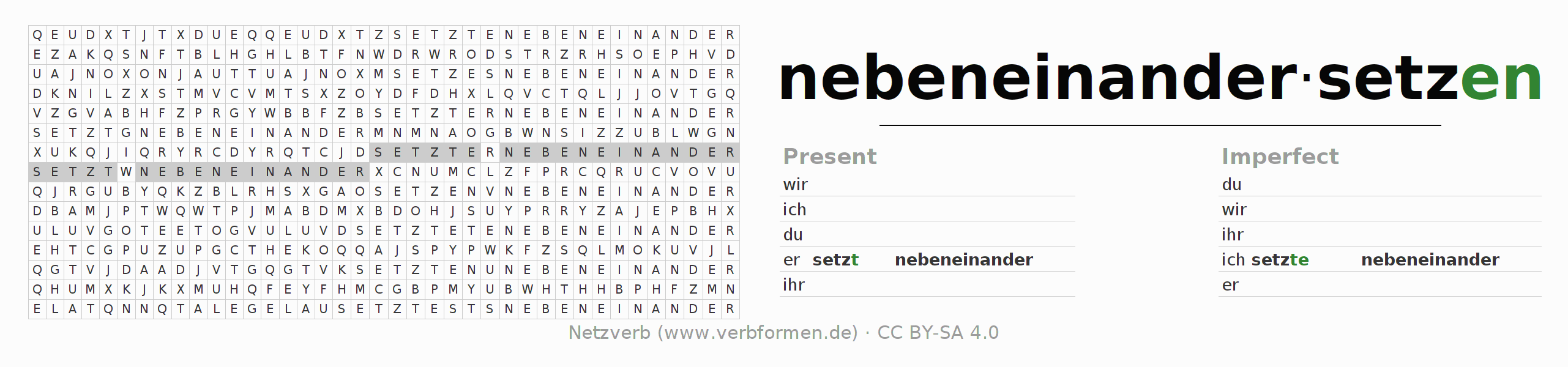 Word search puzzle for the conjugation of the verb nebeneinandersetzen