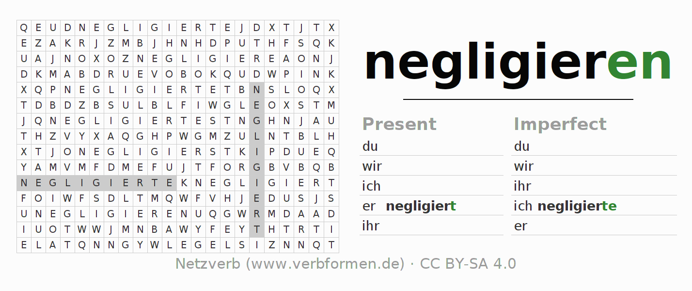 Word search puzzle for the conjugation of the verb negligieren