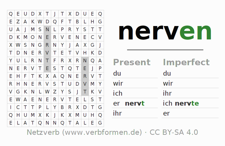 Word search | Verb nerven | Puzzle for the conjugation of German ...