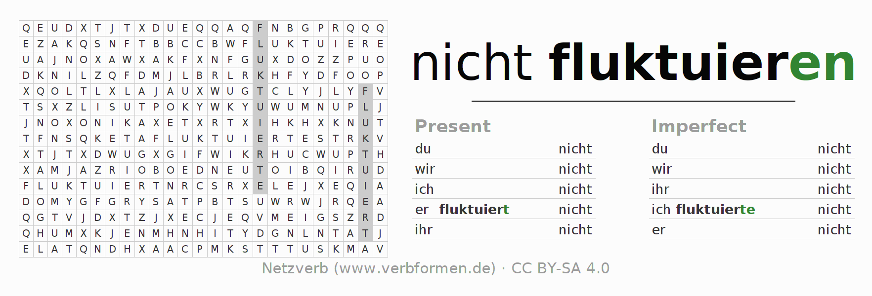Word search puzzle for the conjugation of the verb nicht fluktuieren
