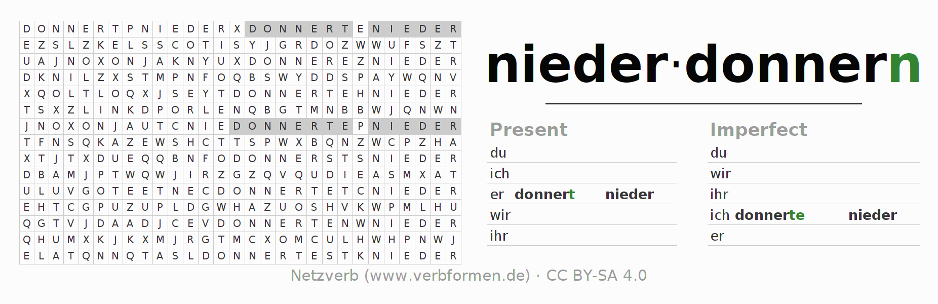 Word search puzzle for the conjugation of the verb niederdonnern