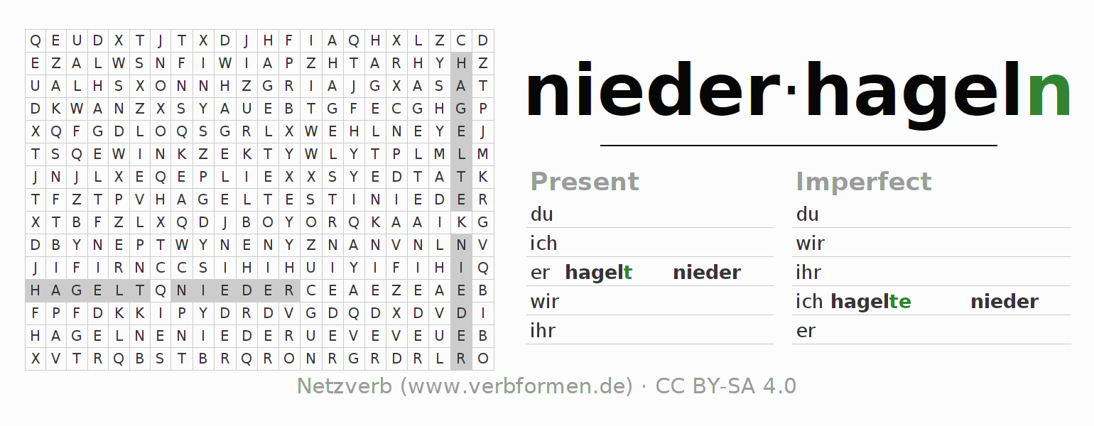 Word search puzzle for the conjugation of the verb niederhageln