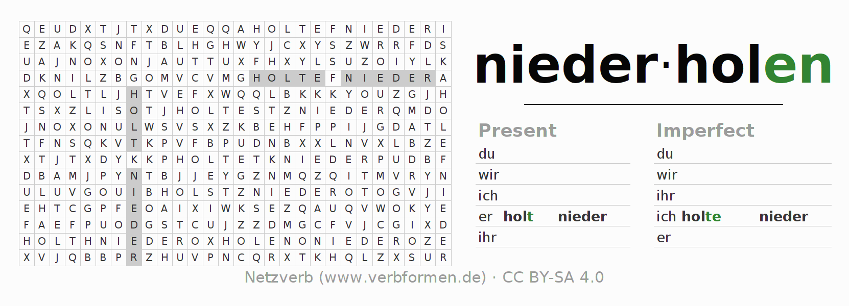 Word search puzzle for the conjugation of the verb niederholen