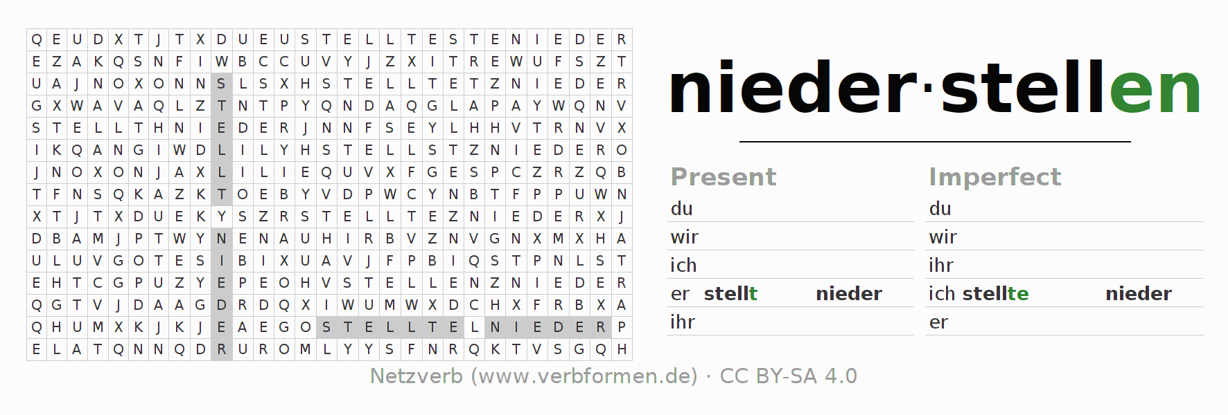 Word search puzzle for the conjugation of the verb niederstellen