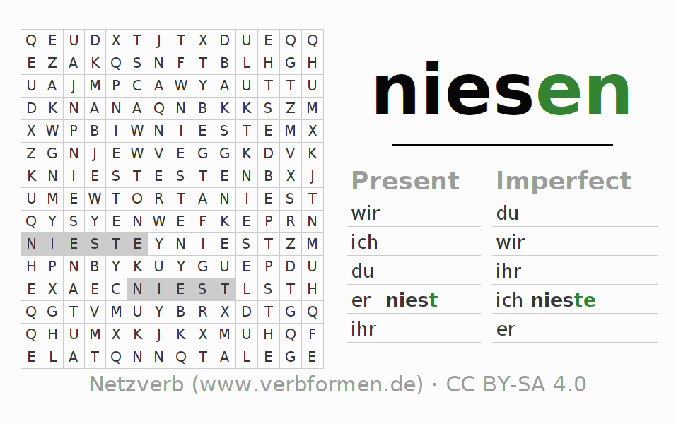 Word search puzzle for the conjugation of the verb niesen