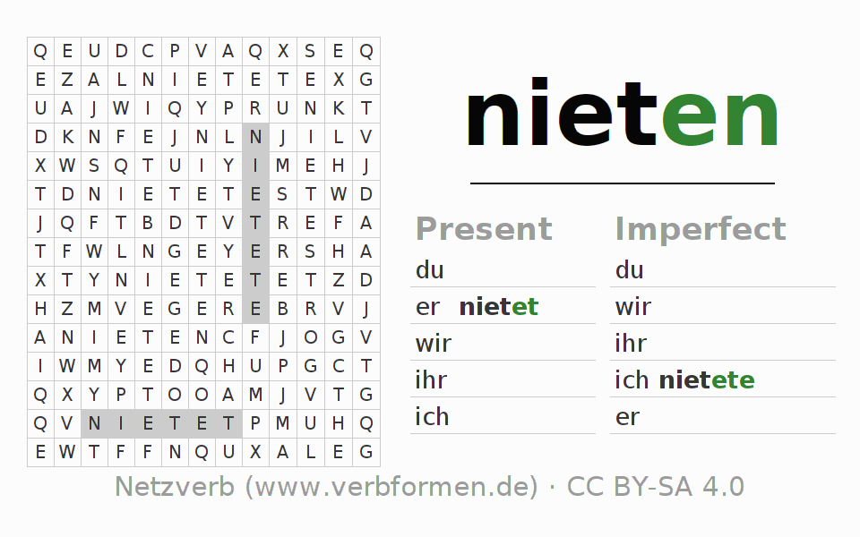 Word search puzzle for the conjugation of the verb nieten