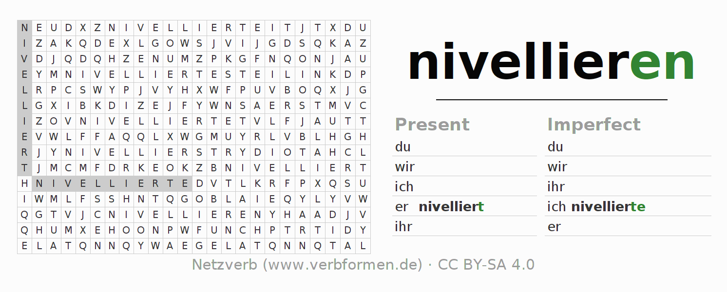 Word search puzzle for the conjugation of the verb nivellieren